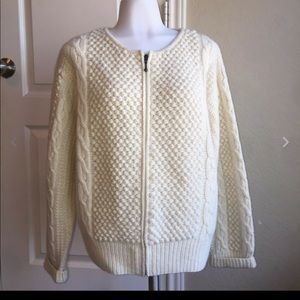 Norm Thompson Lambswool Blend Cream Sweater Large